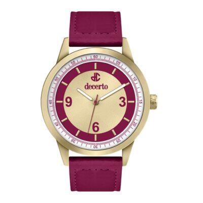 Ρολόι Decerto Royal 9630-2 Κόκκινο Δέρματινο Λουράκι
