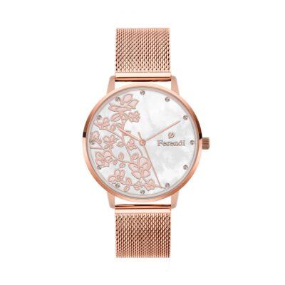 Ρολόι Ferendi Blossom 3820R-103 Ροζ-Χρυσό Ατσάλινο λουρί