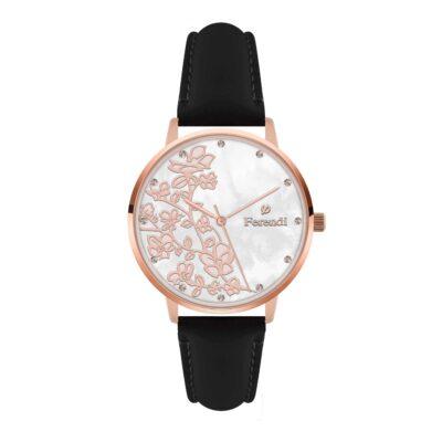 Ρολόι Ferendi Blossom 3820R-31 Μαύρο Δέρματινο Λουράκι