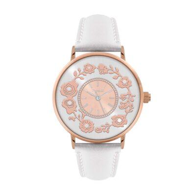 Ρολόι Ferendi Flare 1840R-42 Λευκό Δέρματινο Λουράκι