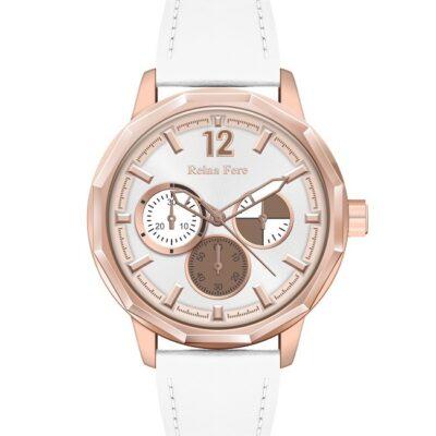 Ρολόι Reina Fere Amphitrite 8826-203 Λευκό Δέρματινο Λουράκι