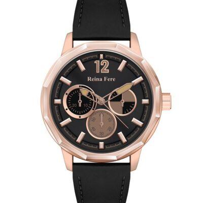 Ρολόι Reina Fere Amphitrite 8826-205 Μαύρο Δέρματινο Λουράκι