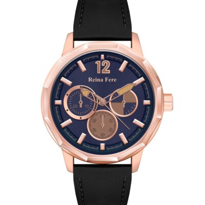 Ρολόι Reina Fere Amphitrite 8826-222 Μαύρο Δέρματινο Λουράκι