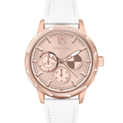 Ρολόι Reina Fere Amphitrite 8826-231 Λευκό Δέρματινο Λουράκι