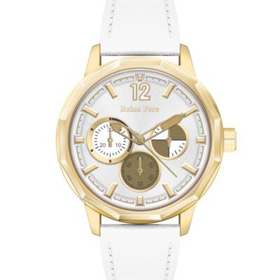 Ρολόι Reina Fere Amphitrite 8826-234 Λευκό Δέρματινο Λουράκι