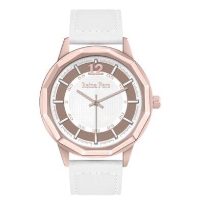 Ρολόι Reina Fere Nereis 8826-3 Λευκό Δέρματινο Λουράκι