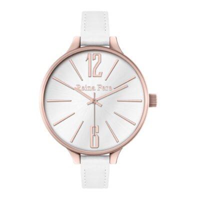 Ρολόι Reina Fere Thetis 0712-5 Λευκό Δέρματινο Λουράκι