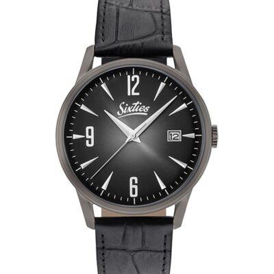 Ρολόι Sixties Sunrise GUL-01-1 Μαύρο Δέρματινο Λουράκι