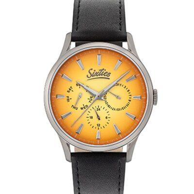Ρολόι Sixties Motion GUL600-12-1 Μαύρο Δέρματινο Λουράκι