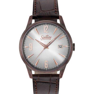 Ρολόι Sixties Sunrise RGAL-02-5 Καφέ Δέρματινο Λουράκι
