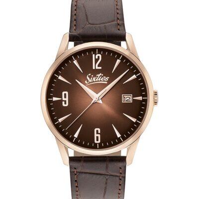 Ρολόι Sixties Sunrise RGL-05-5 Καφέ Δέρματινο Λουράκι