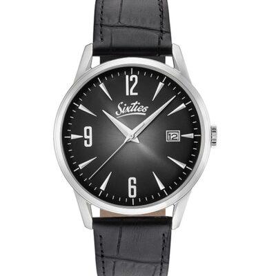Ρολόι Sixties Sunrise SL-01-1 Μαύρο Δέρματινο Λουράκι