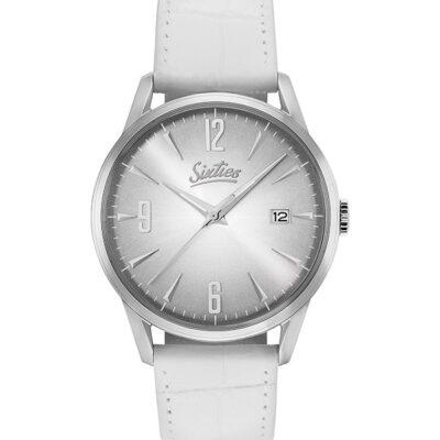 Ρολόι Sixties Sunrise SL-02-2 Λευκό Δέρματινο Λουράκι